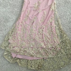 PromGirl Dresses - Promgirl Pink and Gold Prom Dress